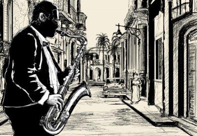 Poster saxofonista em uma rua de Cuba