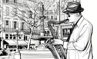 Poster saxofonista em uma rua de Paris