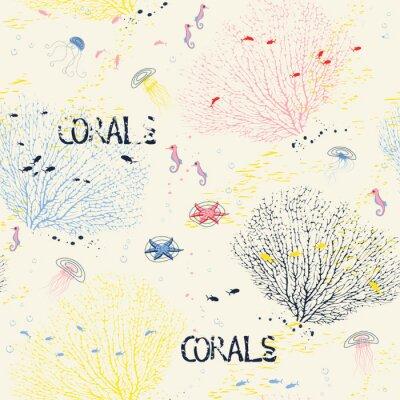 Poster Seamless com corais fã, água-viva, cavalos-marinhos e peixes silhuetas