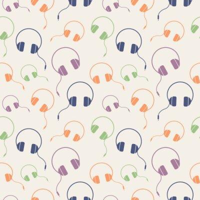 Poster Seamless, música, vetorial, padrão, caótico, fundo, coloridos, fones