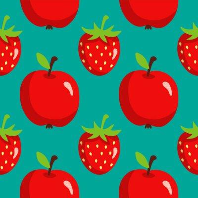 Poster Seamless, Padrão, morangos, maçãs