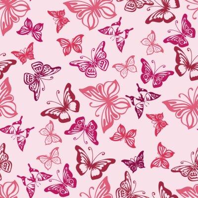 Poster Seamless, Padrão, silhuetas, borboletas