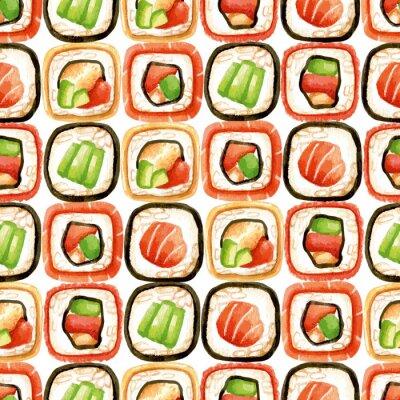 Poster Seamless, Padrão, sushi, rolos