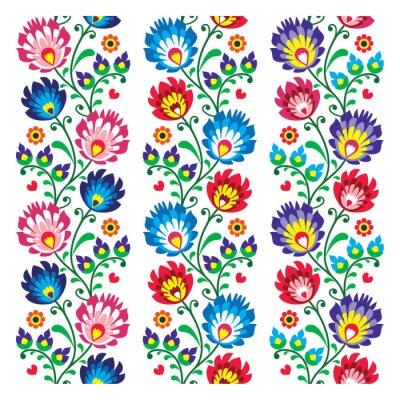 Poster Seamless padrão tradicional polonês popular - sem costura bordado