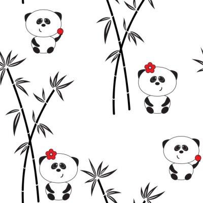 Poster Seamless, Padrão, vetorial, Ilustração, ENGRAÇADO, panda