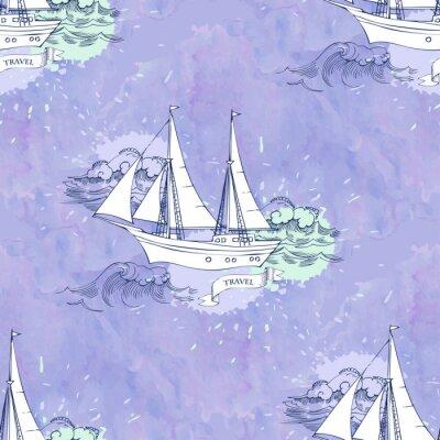 Poster Seamless, patt, ondas, navios