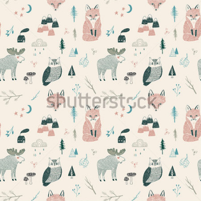 Poster seamless pattern of woodland animals, trees, mountains