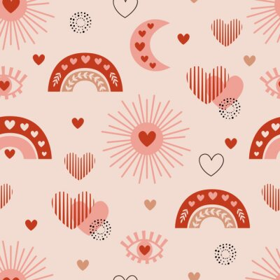 Poster seamless pattern with love boho sun, rainbow, moon