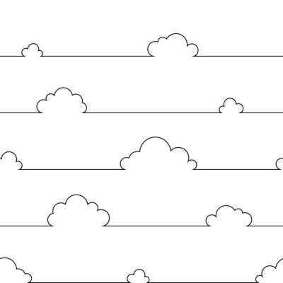 Poster Seamless pattern with simple cartoon clouds in continuous line art drawing style. Black linear design on white background. Vector illustration