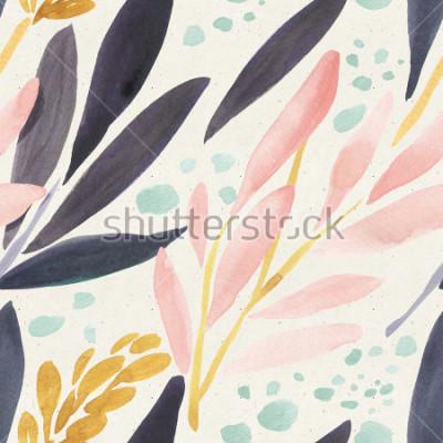 Poster Sem costura padrão aquarela na textura de papel. Fundo floral