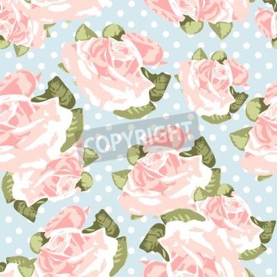 Poster Sem emenda bonito padrão rosa com azul de bolinhas fundo, ilustração vetorial