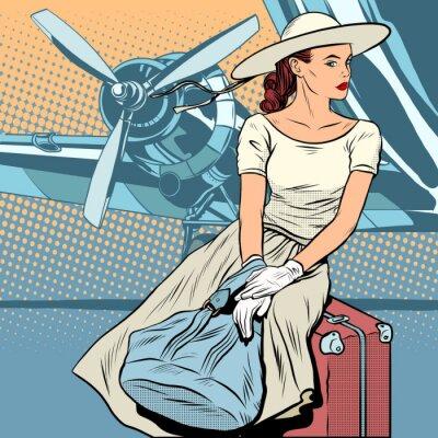 Poster Senhora, viajante, aeroporto