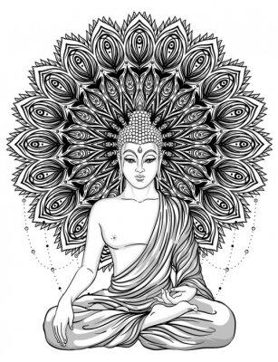 Poster Sentando o Buda sobre flor de rosa ornamentada. Ilustração vetorial vintage esotérico. Índio, budismo, arte espiritual. Hippie tatuagem, espiritualidade, Deus tailandês, yoga zen