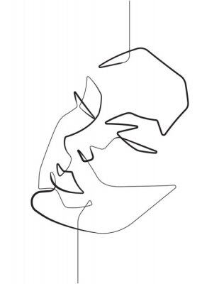 Poster Serene Female Face One Single Continuous Line Vector Graphic Illustration