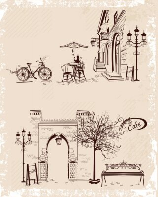 Poster Series of backgrounds decorated with old town views and street cafes.