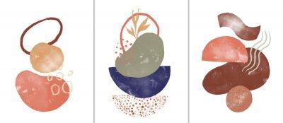 Poster Set of digital art illustrations, contemporary minimalist abstract modern