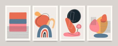 Poster Set of minimalistic geometric art posters with elements of geometric shapes and lines. Modern contemporary creative trendy abstract templates vector illustration.