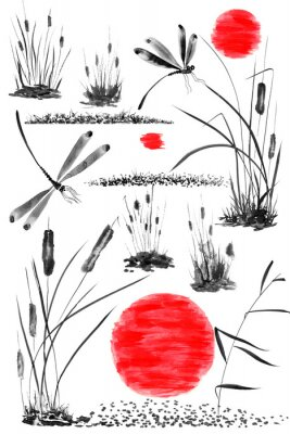Poster Set of sun,   bulrush, grass and dragonflies.  Watercolor and ink illustration in style sumi-e, u-sin, go-hua. Oriental traditional painting. Isolated .