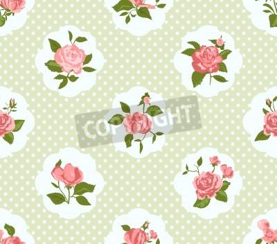 Poster Shabby Chic Pattern Rose e fundo sem emenda. Ideal para impressão em tecido e papel ou sucata reserva. Cottage estilo chique.