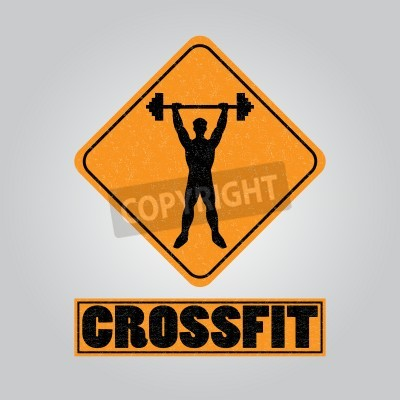 Poster Silhouette of a man with a barbell in his hands. icon for the gym, the competition or as a sticker on the T-shirt.