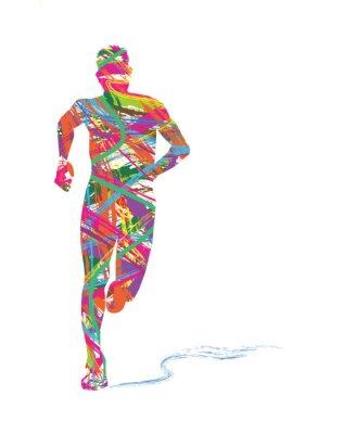 Poster silhueta Astratta di uomo che corre