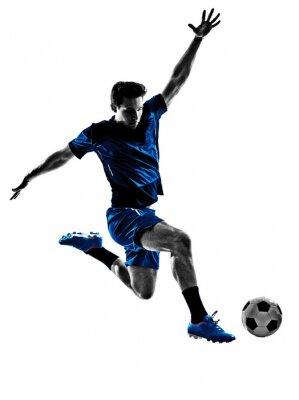 Poster silhueta do homem do jogador de futebol italiano