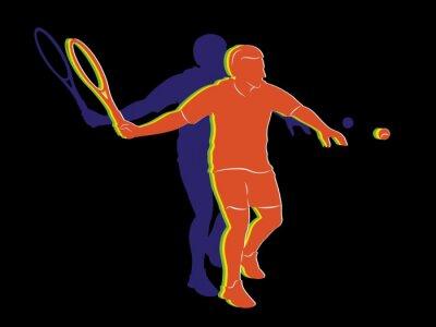Poster Silhueta, tênis, jogador, vetorial, desenho