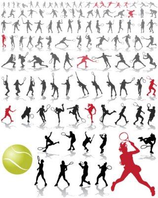 Poster Silhuetas e sombras de jogadores de tênis, ilustração do vetor