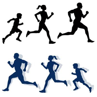 Poster Silhuetas jogging família