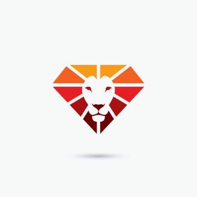 Poster Símbolo do leão do diamante do fogo