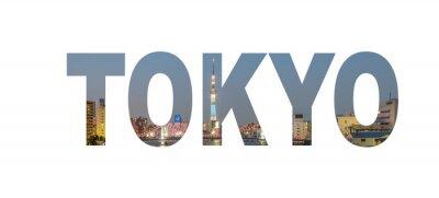 Poster Sinal do nome da cidade de Tokyo com a foto no fundo. Isolado no fundo branco ..