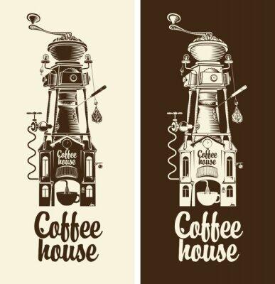 Poster Sinal, retro, café, casa, moedor, telhado