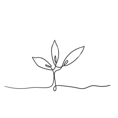 Poster Single continuous line art growing sprout handdrawn doodle style