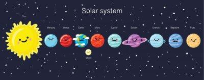 Poster Sistema solar com os planetas, o sol ea lua de sorriso bonitos.