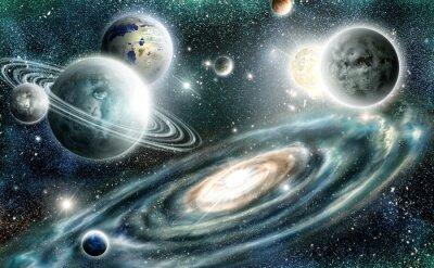 Poster Sistema solar e galáxia espiral