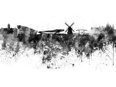 Poster Skyline de Amsterdão na aguarela preta