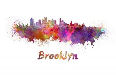 Poster Skyline de Brooklyn na aguarela