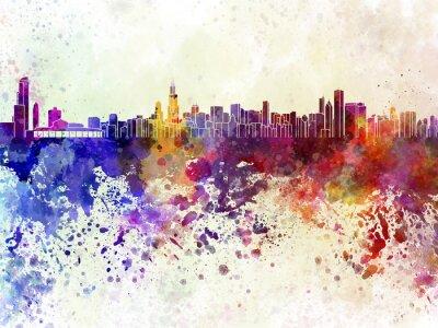 Poster Skyline de Chicago no fundo da aguarela