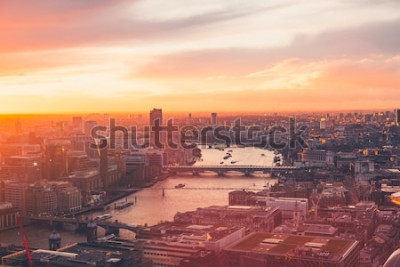 Poster Skyline de Londres - Thames - pôr do sol - verão - Sky Garden - laranja