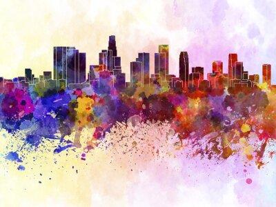 Poster Skyline de Los Angeles no fundo da aguarela