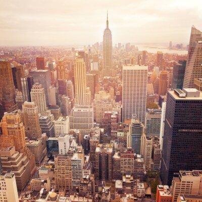 Poster Skyline de New York City com efeito de filtro retro, EUA.