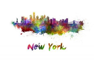Poster Skyline de Nova Iorque na aguarela