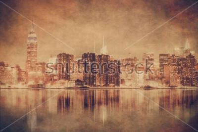 Poster Skyline de Nova York, estilo do vintage de Manhattan com textura do grunge
