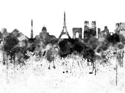 Poster Skyline de Paris na aguarela preta
