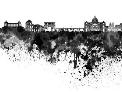 Poster Skyline de Roma na aguarela preta