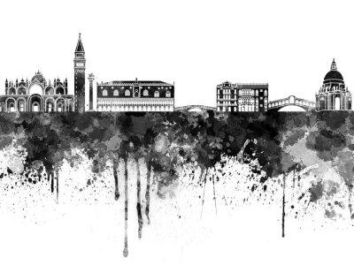 Poster Skyline de Veneza na aguarela preta