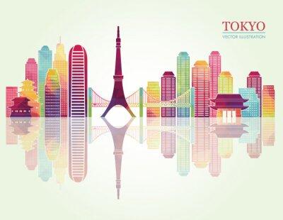 Poster Skylines detalhados de Tokyo. Ilustração do vetor