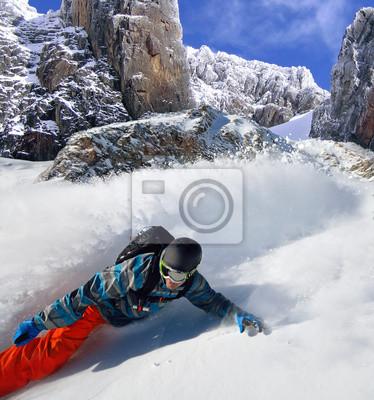 Poster Snowboarder, livre, cavaleiro, montanhas
