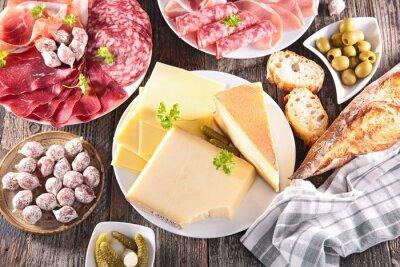 Poster sortimento de queijos, carnes