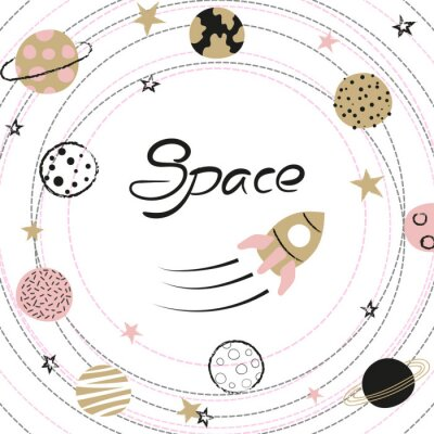 Poster Space vector illustration with hand drawn planets and rocket for kids.